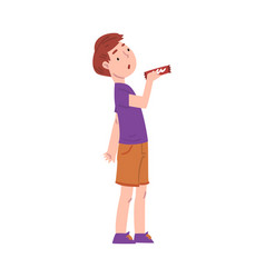 Cute boy holding candy bar child buying sweets vector