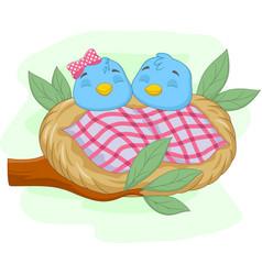 cute sleeping babies blue bird in a nest vector image