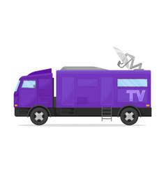 Dark blue tv van with a gray roof vector