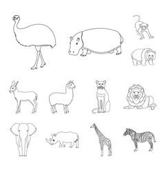 different animals outline icons in set collection vector image