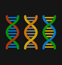 dna or chromosome icons set on dark background vector image