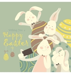 Easter bunnies take a selfie vector image