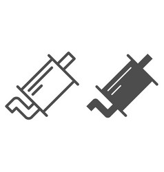 Exhaust pipe line and glyph icon muffler vector