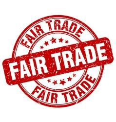 Fair trade red grunge round vintage rubber stamp vector