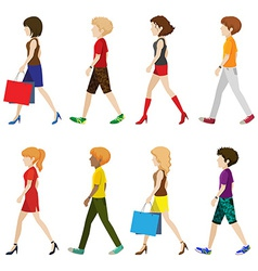 Fashionable people walking without faces vector image