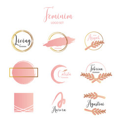 Feminine and minimalist logo template collection vector