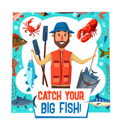 Fishing sport poster with fisherman catch vector