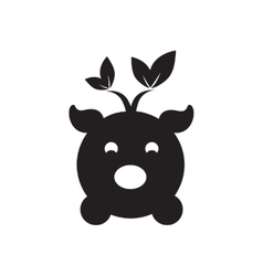 Flat icon in black and white eco pig vector