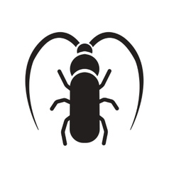 Flat icon in black and white style beetle barbel vector
