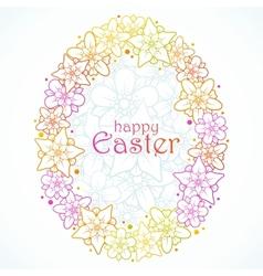 floral greeting card easter egg vector image