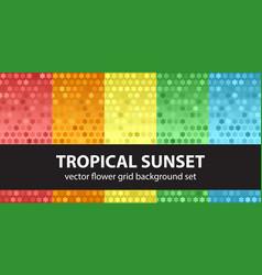 flower pattern set tropical sunset seamless vector image