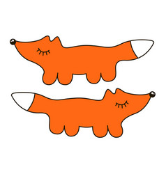 Funny fox sign cartoon icon in curve lines vector