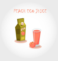 glass of bio fresh peach juice vector image