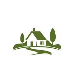 Green house or eco villa icon for real vector