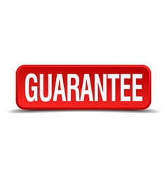 Guarantee red 3d square button on white background vector image
