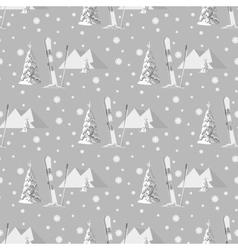 hand drawn seamless pattern of ski poles vector image