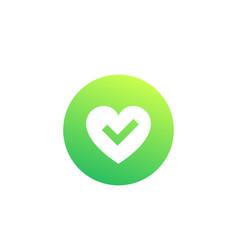 Heart and tick logo vector