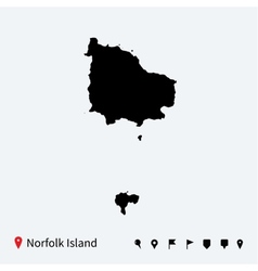 high detailed map norfolk island vector image