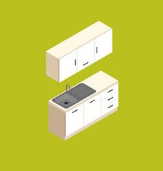 Isometric small kitchen furniture vector