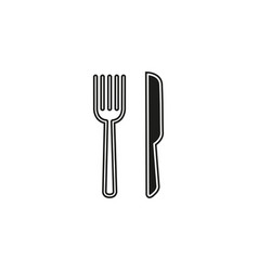 knife and fork icon cutlery isolated restaurant vector image