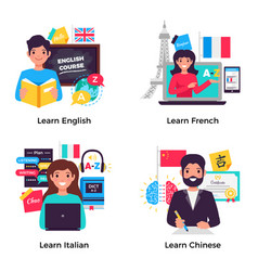 language training 4 flat compositions vector image