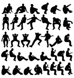 man sitting silhouette in various poses set vector image