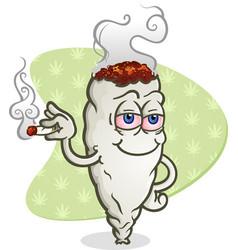 Marijuana smoking a joint cartoon character vector