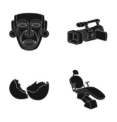 Mask movie camera and other web icon in black vector