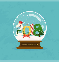 Merry christmas glass ball with 2018 symbol flat vector