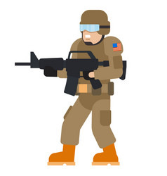 Military man american armed force wearing army vector