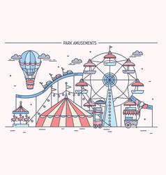 Nice horizontal banner of amusement park circus vector