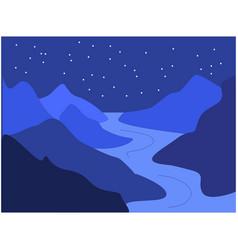 Night mountains vector