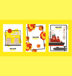 Nuclear energy set cards poster vector