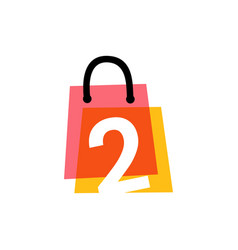 number two 2 shop store shopping bag overlapping vector image
