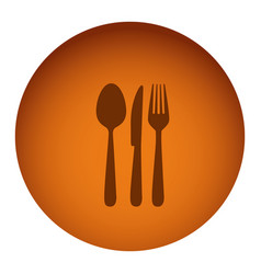 Orange emblem metal cutlery icon vector