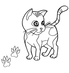 paw print with cat Coloring Pages vector image