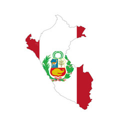 peru country silhouette with flag on background vector image