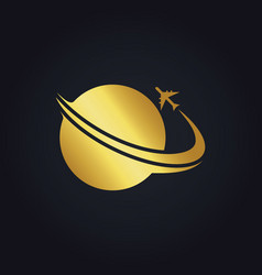 plane world travel gold logo vector image