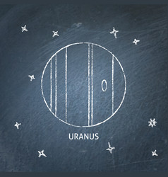 Planet uranus icon on chalkboard vector
