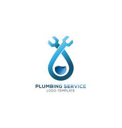 plumbing service company logo concept vector image