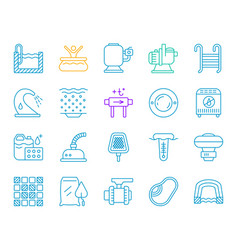 pool equipment simple color line icons set vector image