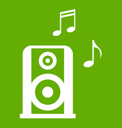 portable music speacker icon green vector image