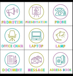 promotion and phone icons set vector image