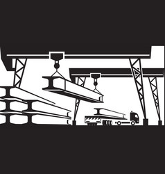 railroad crane loading concrete panels on truck vector image