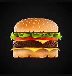 realistic hamburger with cheese salad and tomato vector image