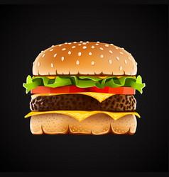 Realistic hamburger with cheese salad and tomato vector