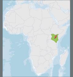 Republic kenya location on africa map vector