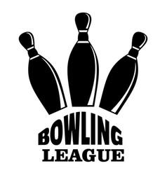Retro bowling league logo simple style vector