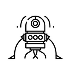 robot creature line icon concept sign outline vector image