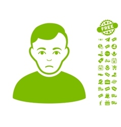 Sad Man Icon With Free Bonus vector image